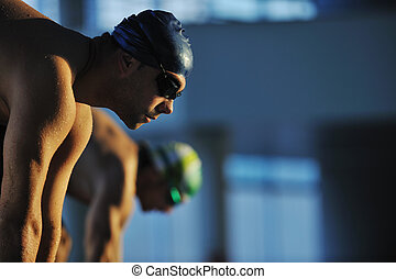 swimming start - start position race concept with fit...