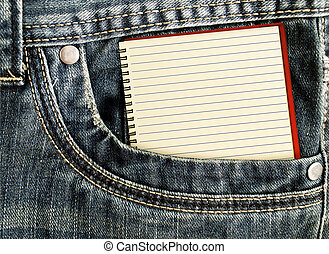 White notebook in jeans pocket - A little note in the side...