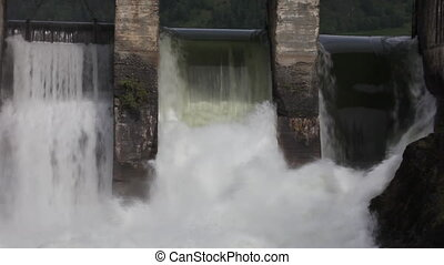 Waterfall - Dam of hydroelectric power station, Katun river,...