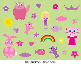 Collection of fun stuff for girls - Vector illustration of a...