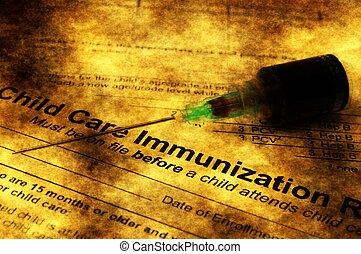 inmunización, Grunge, concepto,