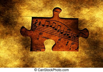 Music  notes and grunge puzzle