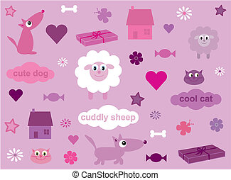 Collection of fun stuff for girls - 2 - Vector illustration...