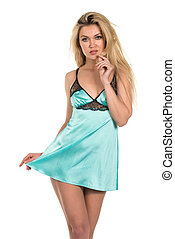 Teal chemise - Beautiful tall Russian blonde in a teal...