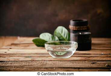Spa setting - Spa and wellness setting with oils and plants...