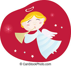 Christmas angel boy with trumpet