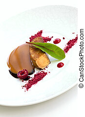 Foie gras, raspberries, milk jam and balsamic vinegar