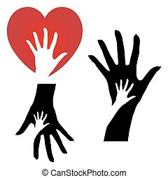 Helping hands - set of three different helping hands icons...
