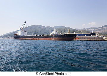 seaport on which mooring there are cargo ships Montenegro