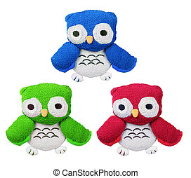 Owl Soft Toys on Isolated White Background