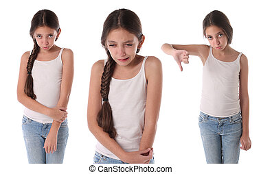 Collage of a very sad young girl. Isolated on white...