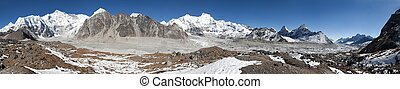 Panoramic view of mount Cho Oyu, one of the highest mountain...