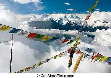view from Langtang to Ganesh Himal with prayer flags - Nepal...