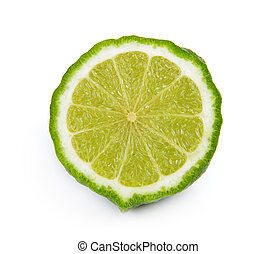 slice bergamot fruit on a white background