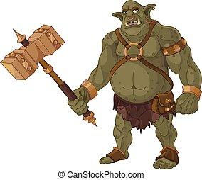 Big Troll - Big fat troll with wood hammer