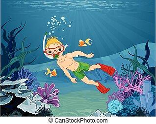 Menino, mergulhador