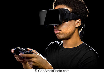 3d Video Games with Virtual Reality Headset - Virtual...