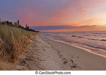 Sunset on a Lake Huron Beach - Pinery Provincial Park,...