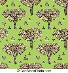 delicate geometric style elephant seamless background