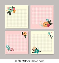 adorable hand drawn style floral memo design set