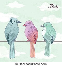 elegant hand drawn birds standing on power lines