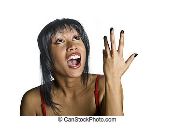 open mouth - woman looking with open mouth at arm