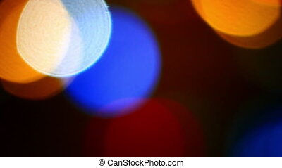 Defocused night traffic light - Night traffic lights of the...