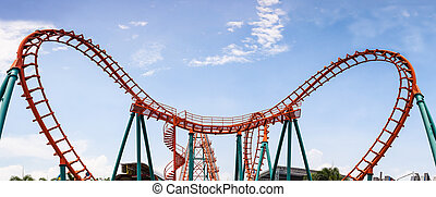 Roller Coaster, rail way curve and spin heart shape as...