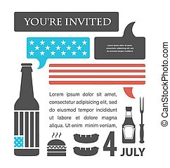 BBQ party invitation. United States flag in speech bubble. July 4th, America