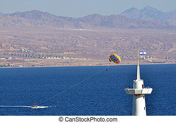 Parasailing in Eilat, Israel - EILAT, ISR - APRIL 14 2015:...