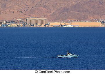 Israeli Navy boat patrolling in the Gulf of Eilat Israel -...