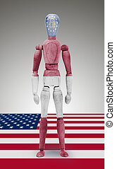 Wood figure mannequin with US state flag bodypaint - Georgia...