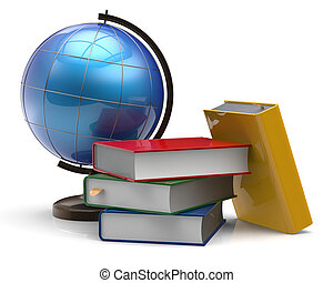 Book stack textbooks globe blank colorful global knowledge -...