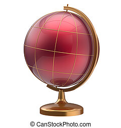 Red globe blank planet Mars global geography studying icon -...