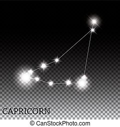 Capricorn Zodiac Sign of the Beautiful Bright Stars Vector...