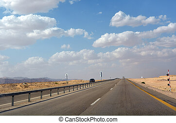 Traffic on Aravah Road,Israel - ARAVA, ISR -APR 17...