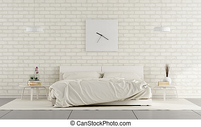 White Bedroom - Minimalist white bedroom with double bed and...