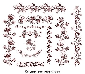 Vintage retro floral seamless borders and design elements