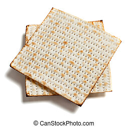 matza bread on white - Two pieces of matza bread on a white...