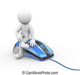 3d man sitting on computer mouse device - 3d rendering of...