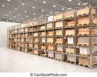 3d illustration of rows of shelves with boxes in modern...