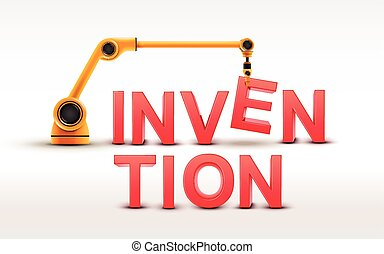 industrial robotic arm building INVENTION word on white...