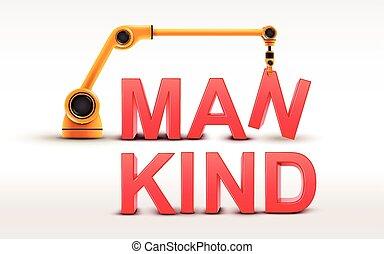 industrial robotic arm building MANKIND word