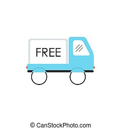 Line Icon with Flat Graphics Element of Free Delivery Car