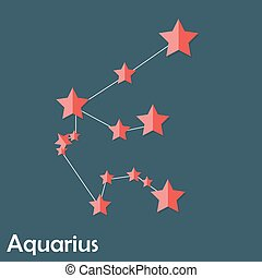 Aquarius Zodiac Sign of the Beautiful Bright Stars Vector...