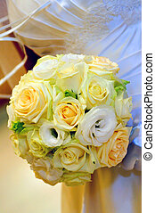 Bouquet, roses, ball type of wedding bouquet