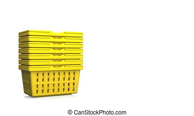 Yellow Shopping Baskets On White Text Space
