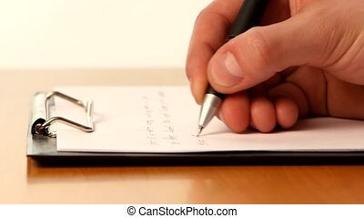 Hand writing a message