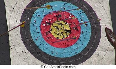 Arrow hit goal in archery target - Arrow hit goal ring in...