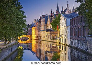 Bruges. - Image of Bruges, Belgium during twilight blue...